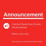 Announcing New Course- Content Marketing For Beginners